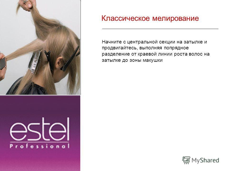 Классическое мелирование Начните с центральной секции на затылке и продвигайтесь, выполняя попрядное разделение от краевой линии роста волос на затылке до зоны макушки