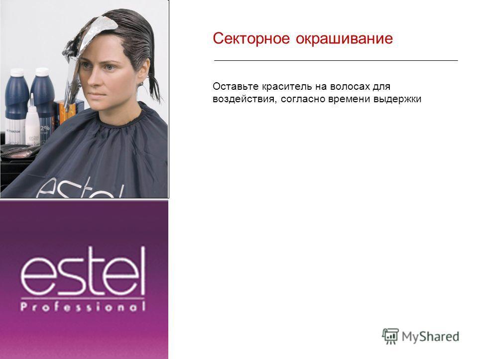 Секторное окрашивание Оставьте краситель на волосах для воздействия, согласно времени выдержки