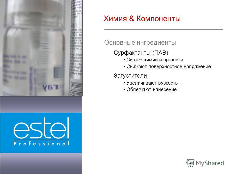 Химия & Компоненты Основные ингредиенты Сурфактанты (ПАВ) Синтез химии и органики Снижают поверхностное напряжение Загустители Увеличивают вязкость Облегчают нанесение