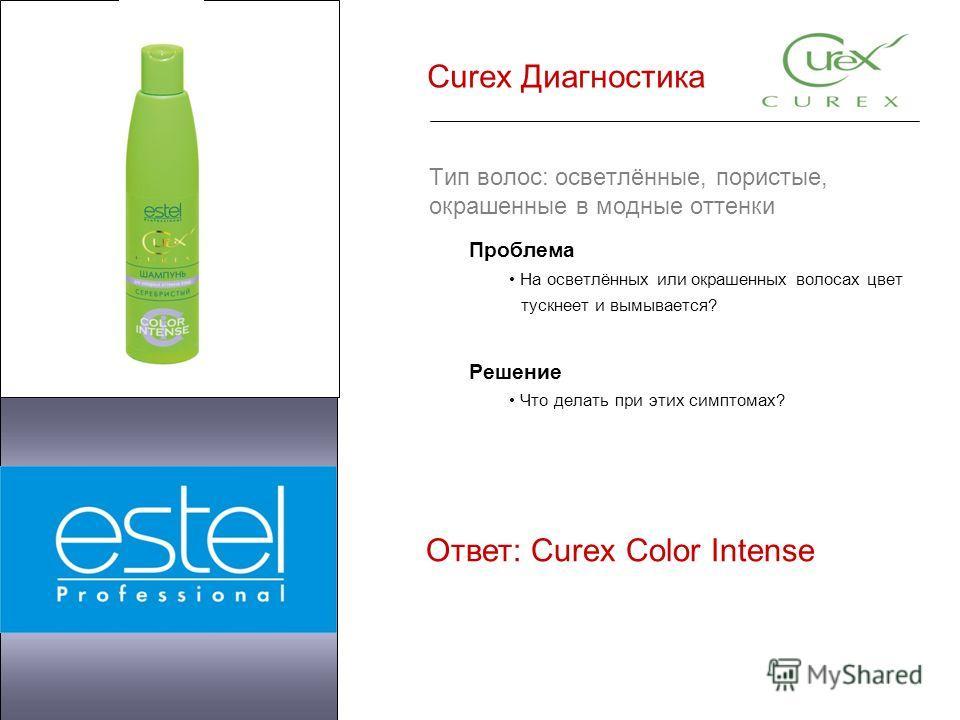 Curex Диагностика Тип волос: осветлённые, пористые, окрашенные в модные оттенки Проблема На осветлённых или окрашенных волосах цвет тускнеет и вымывается? Решение Что делать при этих симптомах? Ответ: Curex Color Intense