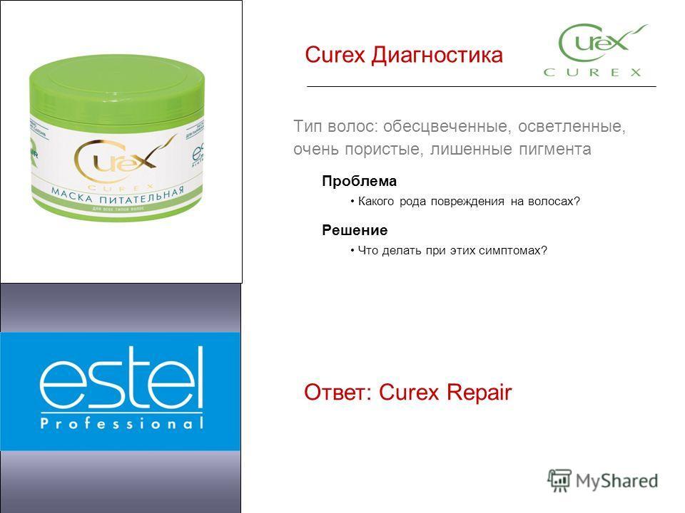 Curex Диагностика Тип волос: обесцвеченные, осветленные, очень пористые, лишенные пигмента Проблема Какого рода повреждения на волосах? Решение Что делать при этих симптомах? Ответ: Curex Repair