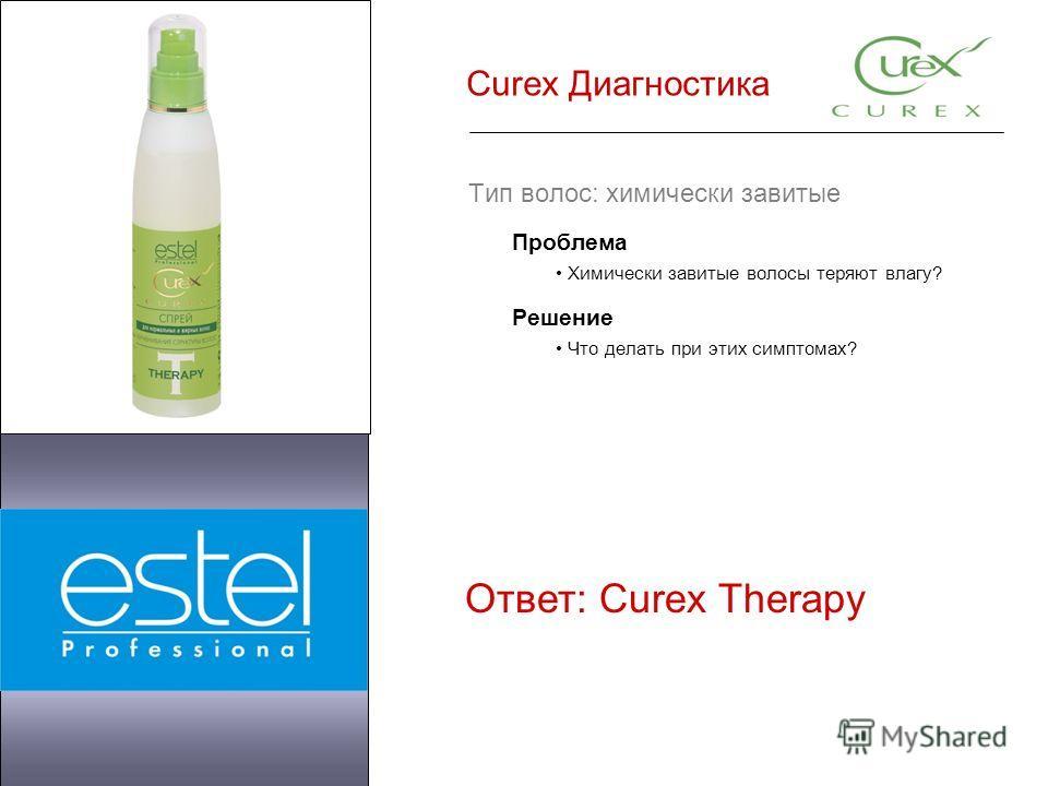 Curex Диагностика Тип волос: химически завитые Проблема Химически завитые волосы теряют влагу? Решение Что делать при этих симптомах? Ответ: Curex Therapy