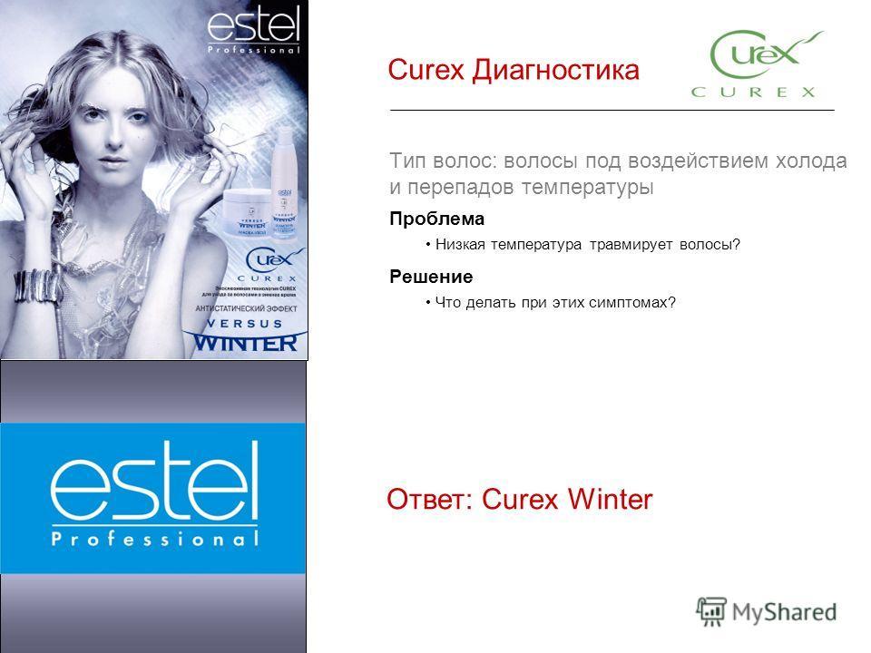 Curex Диагностика Тип волос: волосы под воздействием холода и перепадов температуры Проблема Низкая температура травмирует волосы? Решение Что делать при этих симптомах? Ответ: Curex Winter