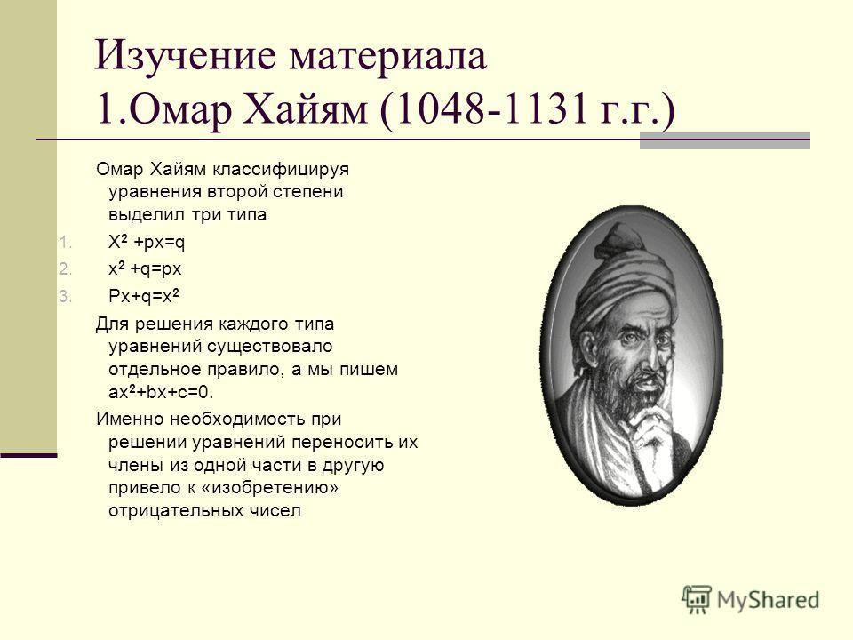Изучение материала 1.Омар Хайям (1048-1131 г.г.) Омар Хайям классифицируя уравнения второй степени выделил три типа 1. X 2 +px=q 2. x 2 +q=px 3. Px+q=x 2 Для решения каждого типа уравнений существовало отдельное правило, а мы пишем ax 2 +bx+c=0. Имен