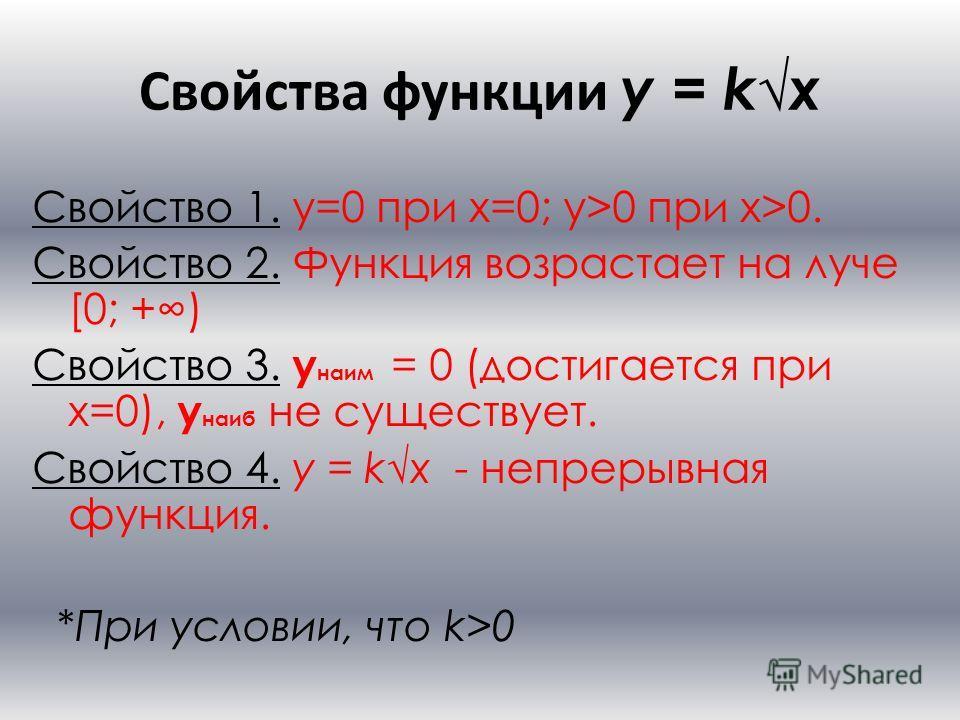 Свойства функции y = kx Свойство 1. y=0 при x=0; y>0 при x>0. Свойство 2. Функция возрастает на луче [0; +) Свойство 3. y наим = 0 (достигается при x=0), y наиб не существует. Свойство 4. y = kx - непрерывная функция. *При условии, что k>0