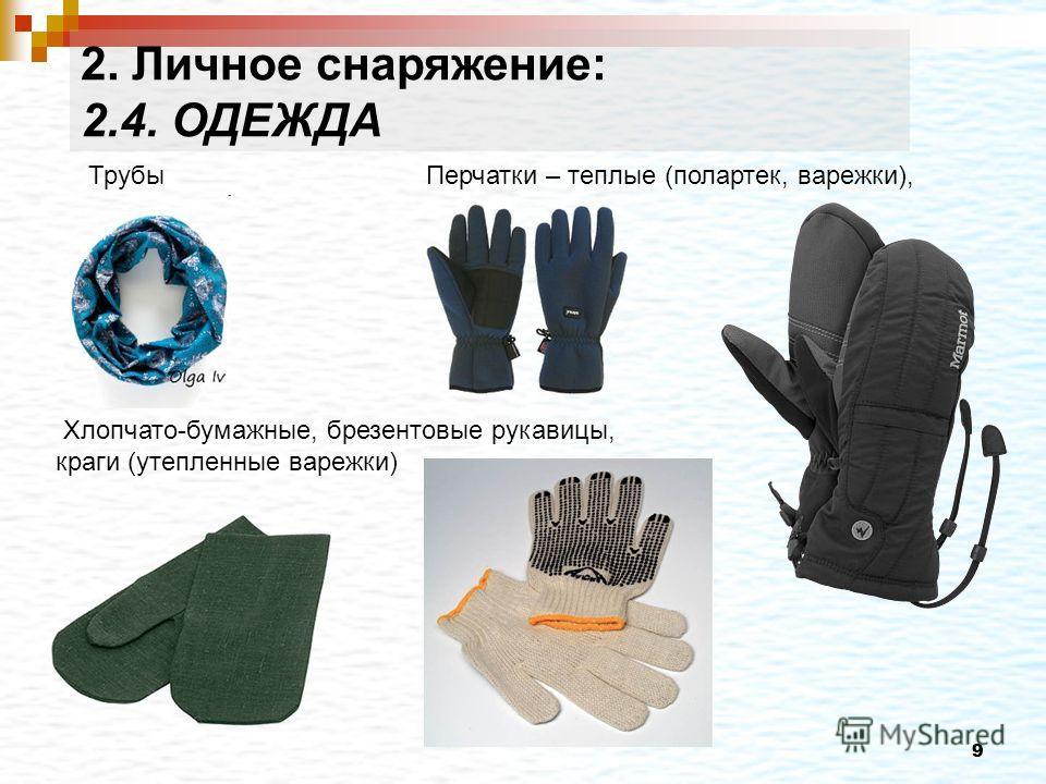 99 Трубы Перчатки – теплые (полартек, варежки), Хлопчато-бумажные, брезентовые рукавицы, краги (утепленные варежки) 2. Личное снаряжение: 2.4. ОДЕЖДА