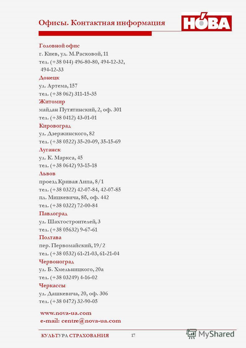 КУЛЬТУРА СТРАХОВАНИЯ 17 Офисы. Контактная информация Головной офис г. Киев, ул. М.Расковой, 11 тел. (+38 044) 496-80-80, 494-12-32, 494-12-33 Донецк ул. Артема, 157 тел. (+38 062) 311-15-35 Житомир майдан Путятинский, 2, оф. 301 тел. (+38 0412) 43-01
