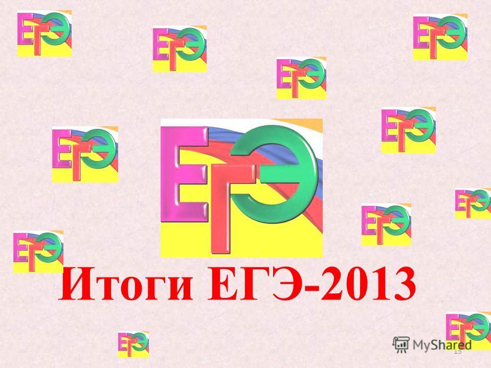 15 Итоги ЕГЭ-2013