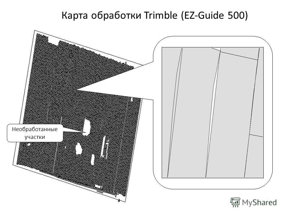 Необработанные участки Карта обработки Trimble (EZ-Guide 500)