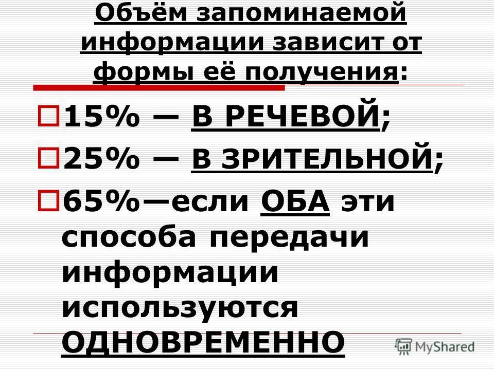 Объём запоминаемой информации зависит от формы её получения: 15% В РЕЧЕВОЙ; 25% В ЗРИТЕЛЬНОЙ ; 65%если ОБА эти способа передачи информации используются ОДНОВРЕМЕННО