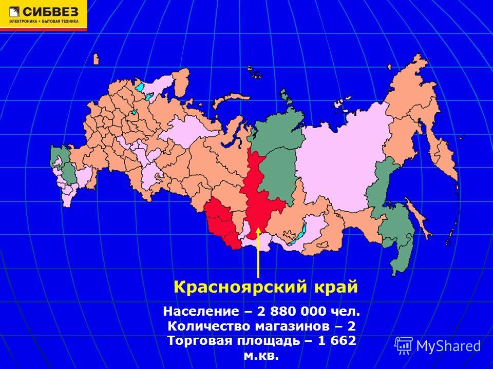 Красноярский край Население – 2 880 000 чел. Количество магазинов – 2 Торговая площадь – 1 662 м.кв.