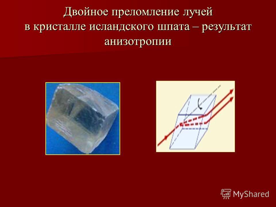 Двойное преломление лучей в кристалле исландского шпата – результат анизотропии