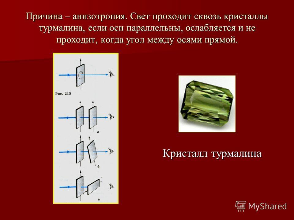 Причина – анизотропия. Свет проходит сквозь кристаллы турмалина, если оси параллельны, ослабляется и не проходит, когда угол между осями прямой. Кристалл турмалина