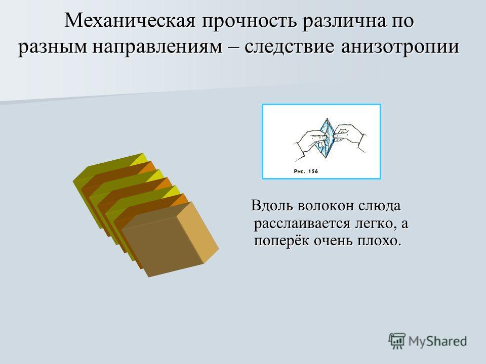 Механическая прочность различна по разным направлениям – следствие анизотропии Вдоль волокон слюда расслаивается легко, а поперёк очень плохо. Вдоль волокон слюда расслаивается легко, а поперёк очень плохо.