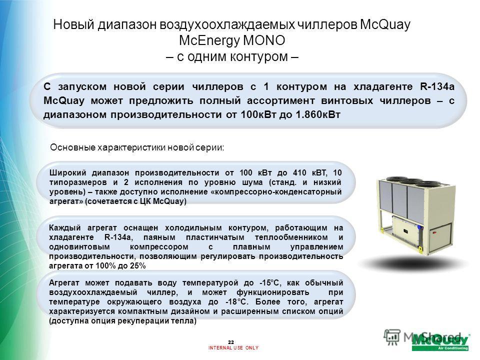 INTERNAL USE ONLY Новый диапазон воздухоохлаждаемых чиллеров McQuay McEnergy MONO – с одним контуром – С запуском новой серии чиллеров с 1 контуром на хладагенте R-134a McQuay может предложить полный ассортимент винтовых чиллеров – с диапазоном произ