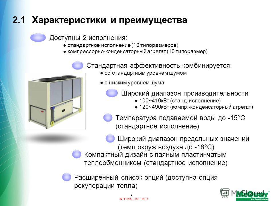 INTERNAL USE ONLY 8 2.1Характеристики и преимущества Широкий диапазон предельных значений (темп.окруж.воздуха до -18°C) Компактный дизайн с паяным пластинчатым теплообменником (стандартное исполнение) Доступны 2 исполнения: стандартное исполнение (10