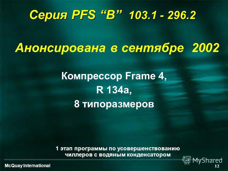 McQuay International 12 Анонсирована в сентябре 2002 Серия PFS B 103.1 - 296.2 Компрессор Frame 4, R 134a, 8 типоразмеров 1 этап программы по усовершенствованию чиллеров с водяным конденсатором