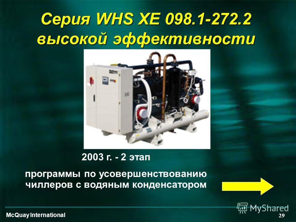 McQuay International 29 Серия WHS XE 098.1-272.2 высокой эффективности 2003 г. - 2 этап программы по усовершенствованию чиллеров с водяным конденсатором