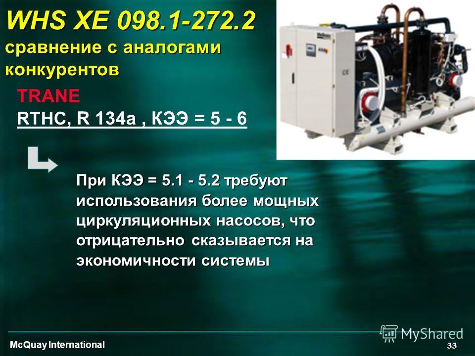 McQuay International 33 WHS XE 098.1-272.2 сравнение с аналогами конкурентов TRANE RTHC, R 134a, КЭЭ = 5 - 6 При КЭЭ = 5.1 - 5.2 требуют использования более мощных циркуляционных насосов, что отрицательно сказывается на экономичности системы