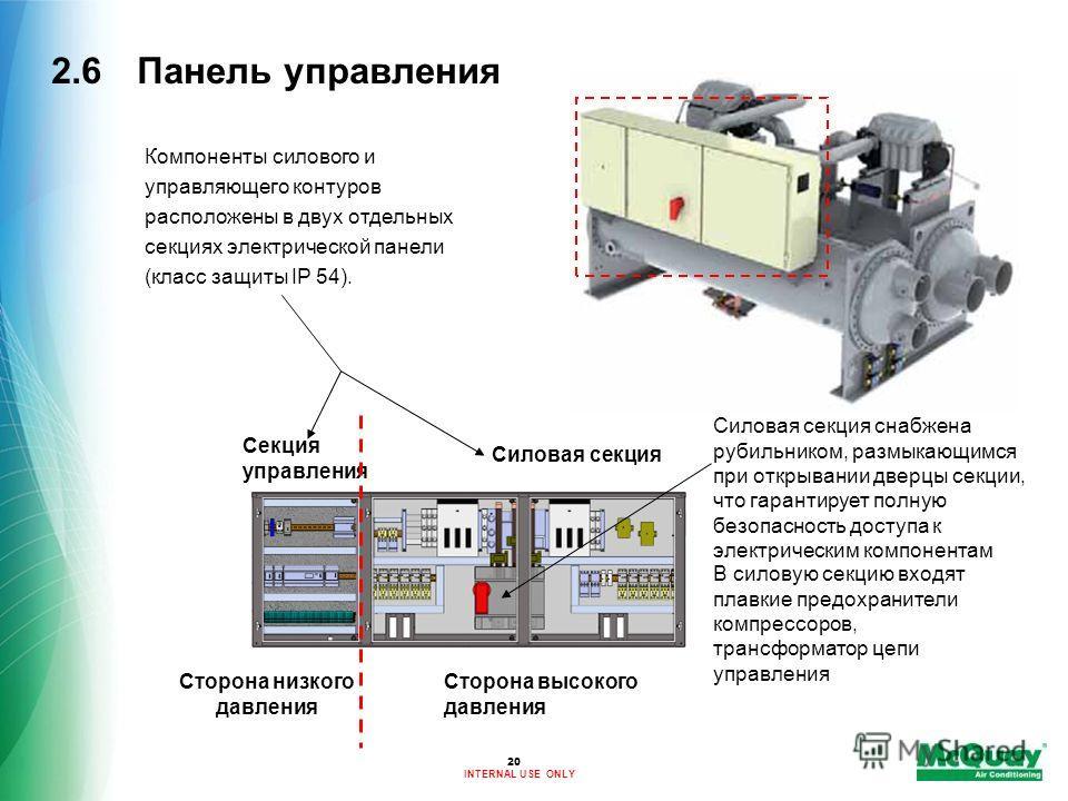 INTERNAL USE ONLY 20 2.6 Панель управления Силовая секция снабжена рубильником, размыкающимся при открывании дверцы секции, что гарантирует полную безопасность доступа к электрическим компонентам В силовую секцию входят плавкие предохранители компрес