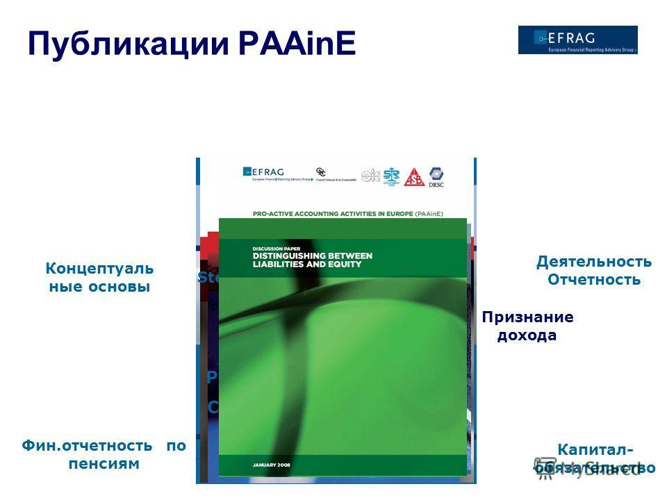 Публикации PAAinE Концептуаль ные основы Stewardship Признание дохода Деятельность Отчетность Future publications: Performance Reporting II Conceptual Framework II Фин.отчетность по пенсиям Капитал- обязательство
