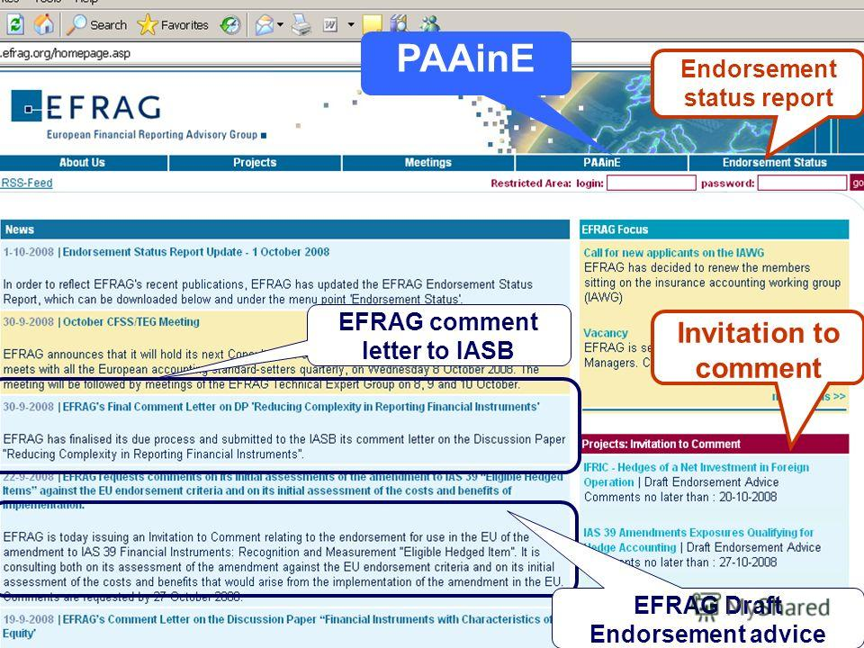 PWC London 06 October 2008 EFRAG Draft Endorsement advice EFRAG comment letter to IASB PAAinE Invitation to comment Endorsement status report