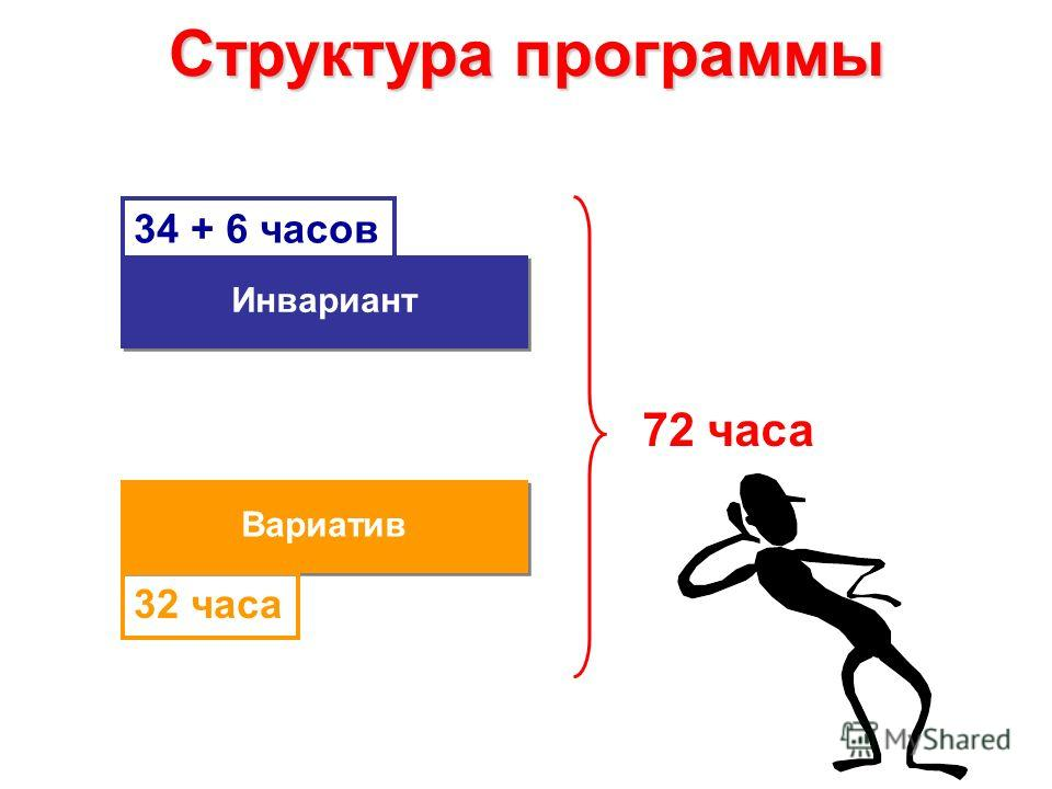 Структура программы Инвариант 72 часа 34 + 6 часов Вариатив 32 часа