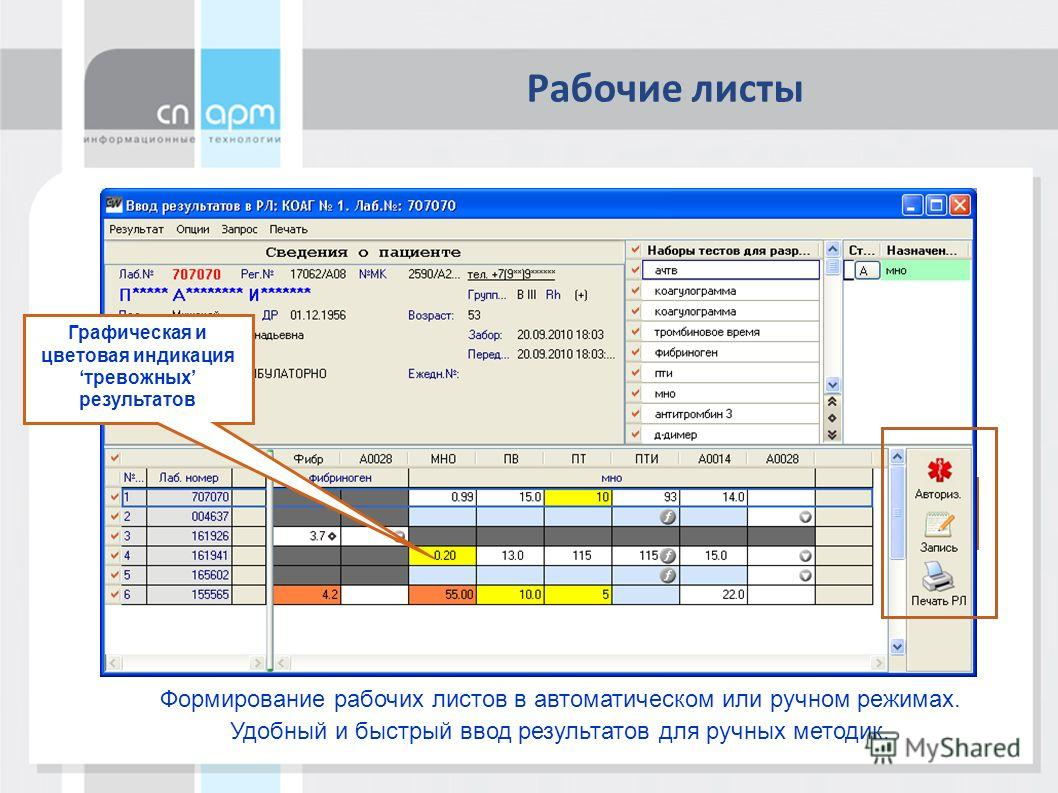 Рабочие листы Формирование рабочих листов в автоматическом или ручном режимах. Удобный и быстрый ввод результатов для ручных методик. Графическая и цветовая индикациятревожных результатов