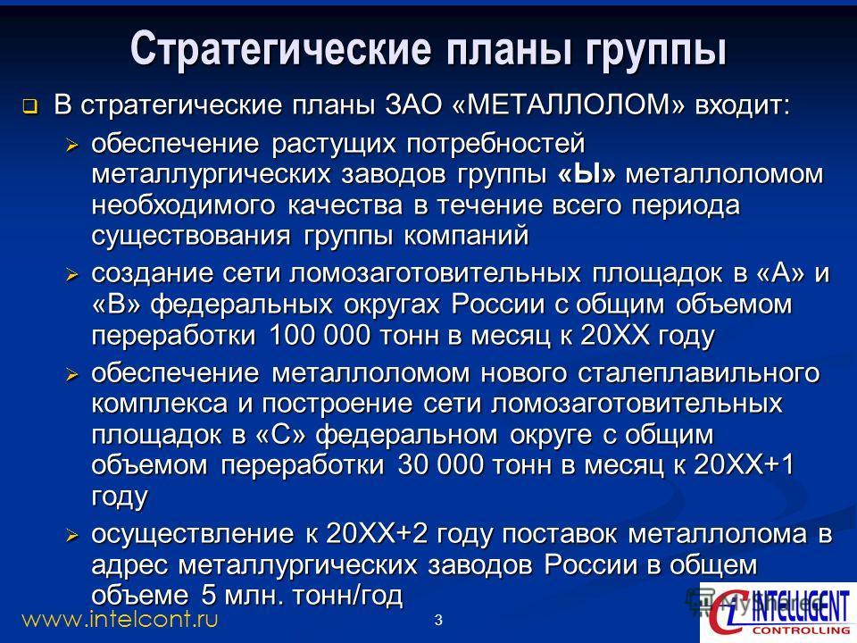 3 www.intelcont.ru Стратегические планы группы В стратегические планы ЗАО «МЕТАЛЛОЛОМ» входит: В стратегические планы ЗАО «МЕТАЛЛОЛОМ» входит: обеспечение растущих потребностей металлургических заводов группы «Ы» металлоломом необходимого качества в
