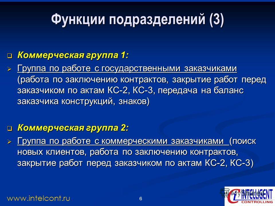 6 www.intelcont.ru Функции подразделений (3) Коммерческая группа 1: Коммерческая группа 1: Группа по работе с государственными заказчиками (работа по заключению контрактов, закрытие работ перед заказчиком по актам КС-2, КС-3, передача на баланс заказ