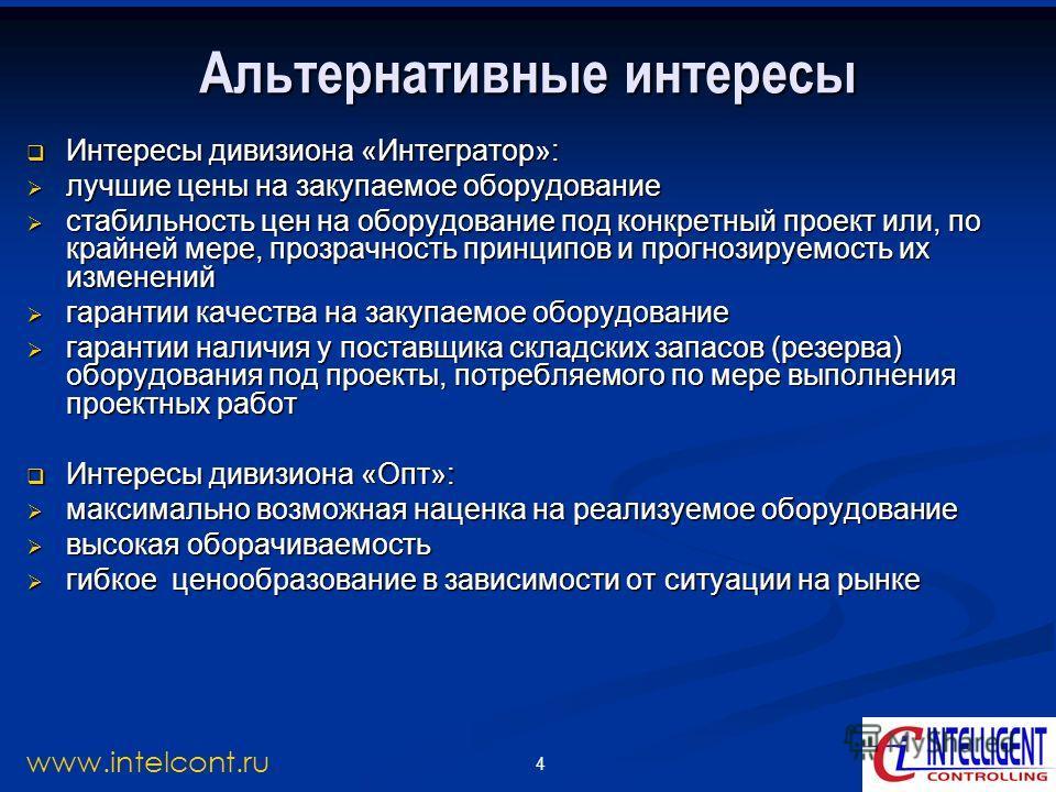 4 www.intelcont.ru Альтернативные интересы Интересы дивизиона «Интегратор»: Интересы дивизиона «Интегратор»: лучшие цены на закупаемое оборудование лучшие цены на закупаемое оборудование стабильность цен на оборудование под конкретный проект или, по
