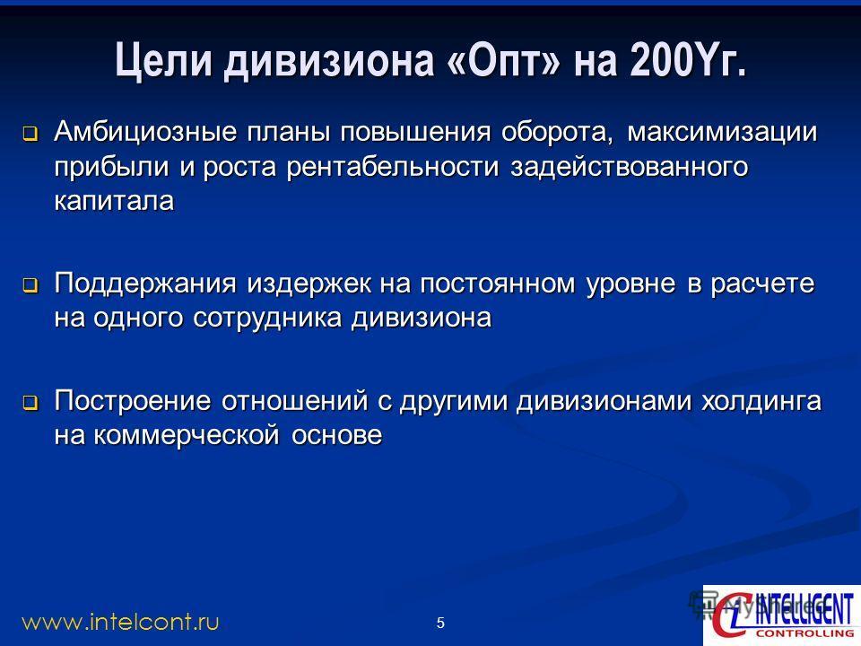 5 www.intelcont.ru Цели дивизиона «Опт» на 200Yг. Амбициозные планы повышения оборота, максимизации прибыли и роста рентабельности задействованного капитала Амбициозные планы повышения оборота, максимизации прибыли и роста рентабельности задействован