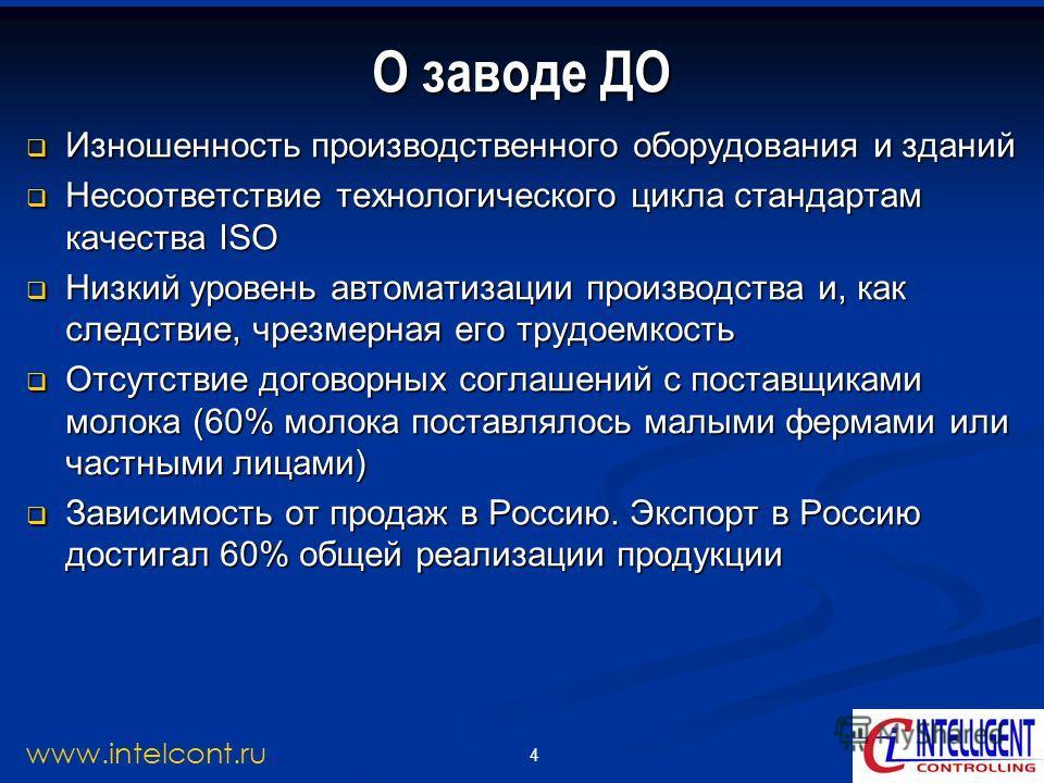 4 www.intelcont.ru Изношенность производственного оборудования и зданий Изношенность производственного оборудования и зданий Несоответствие технологического цикла стандартам качества ISO Несоответствие технологического цикла стандартам качества ISO Н
