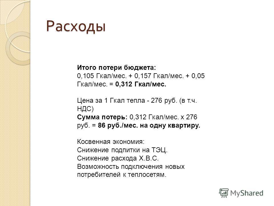 Расходы Итого потери бюджета: 0,105 Гкал/мес. + 0,157 Гкал/мес. + 0,05 Гкал/мес. = 0,312 Гкал/мес. Цена за 1 Гкал тепла - 276 руб. (в т.ч. НДС) Сумма потерь: 0,312 Гкал/мес. х 276 руб. = 86 руб./мес. на одну квартиру. Косвенная экономия: Снижение под