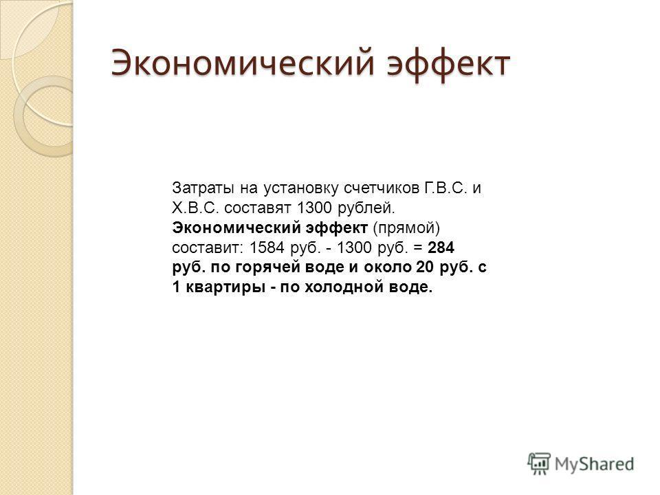Экономический эффект Затраты на установку счетчиков Г.В.С. и Х.В.С. составят 1300 рублей. Экономический эффект (прямой) составит: 1584 руб. - 1300 руб. = 284 руб. по горячей воде и около 20 руб. с 1 квартиры - по холодной воде.