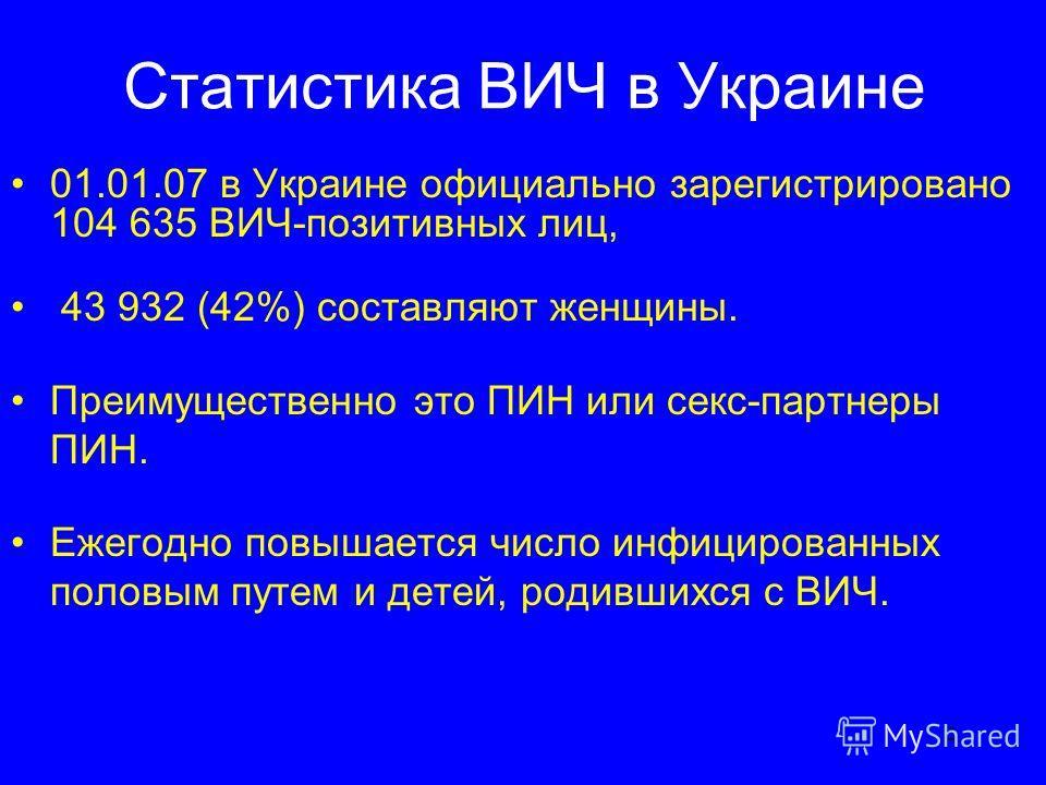2 Cтатистика ВИЧ в Украине 01.01.07 в Украине официально зарегистрировано 104 635 ВИЧ-позитивных лиц, 43 932 (42%) составляют женщины. Преимущественно это ПИН или секc-партнеры ПИН. Ежегодно повышается число инфицированных половым путем и детей, роди