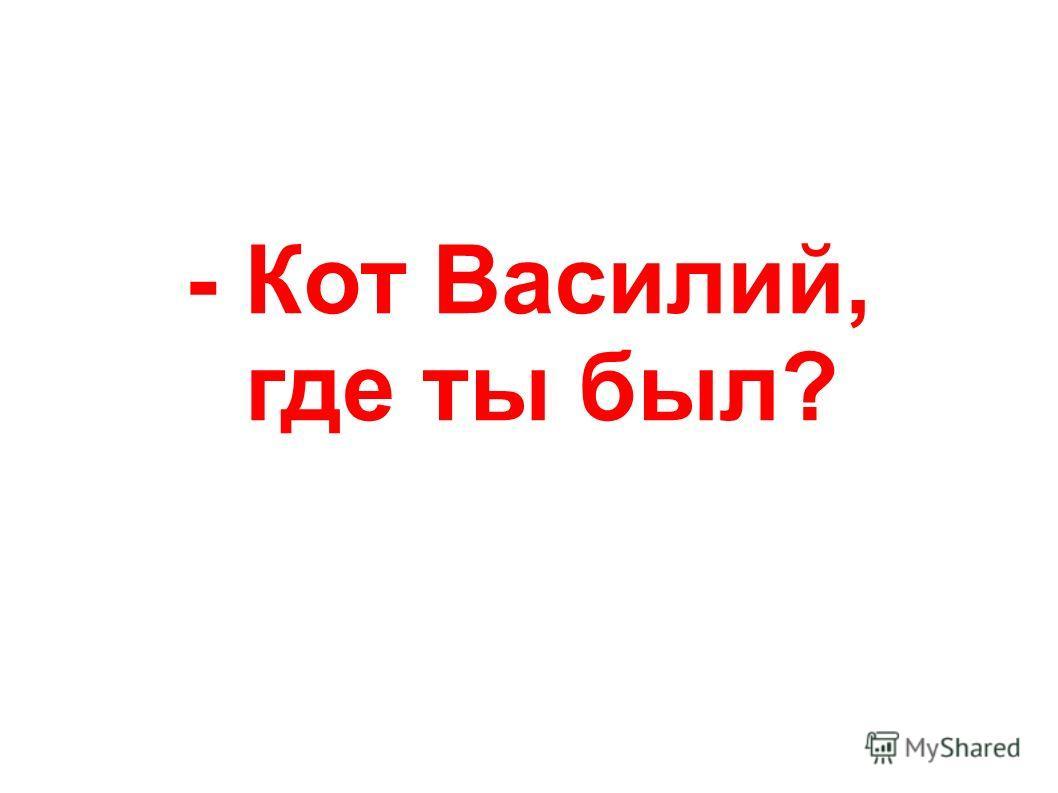 - Кот Василий, где ты был?