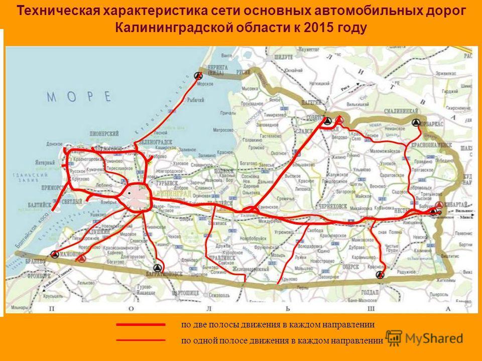 Техническая характеристика сети основных автомобильных дорог Калининградской области к 2015 году по две полосы движения в каждом направлении по одной полосе движения в каждом направлении