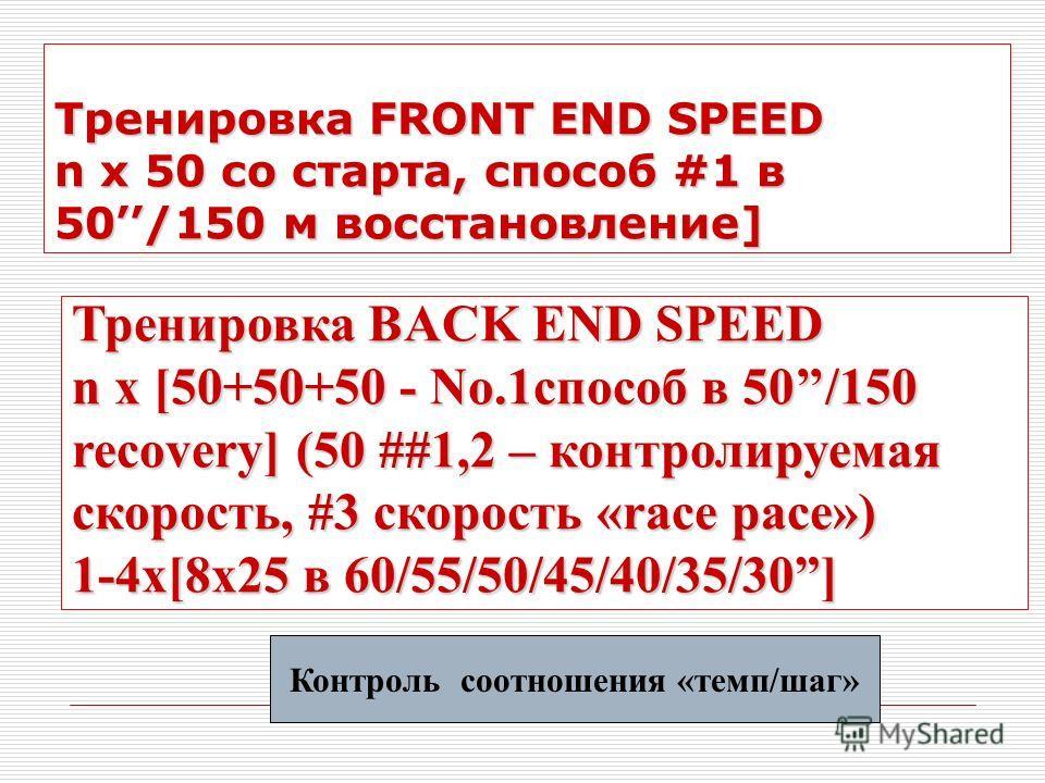 Тренировка FRONT END SPEED n x 50 со старта, способ #1 в 50/150 м восстановление] Тренировка BACK END SPEED n x [50+50+50 - No.1способ в 50/150 recovery] (50 ##1,2 – контролируемая скорость, #3 скорость «race pace») 1-4x[8x25 в 60/55/50/45/40/35/30]