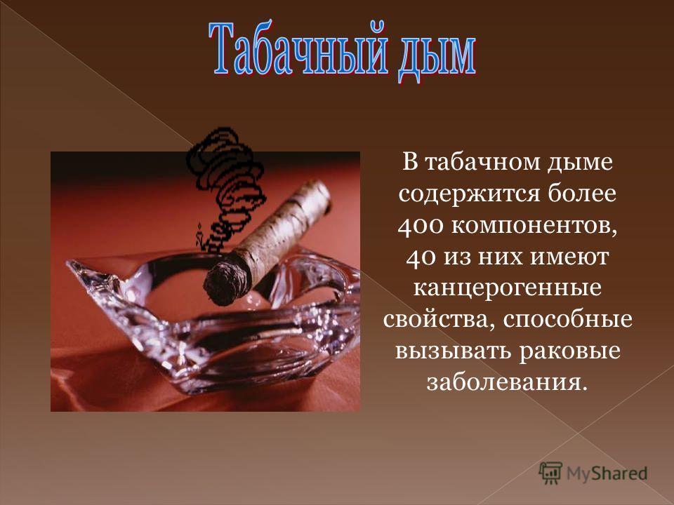 В табачном дыме содержится более 400 компонентов, 40 из них имеют канцерогенные свойства, способные вызывать раковые заболевания.