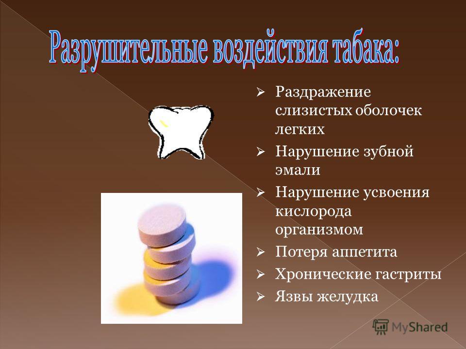 Раздражение слизистых оболочек легких Нарушение зубной эмали Нарушение усвоения кислорода организмом Потеря аппетита Хронические гастриты Язвы желудка