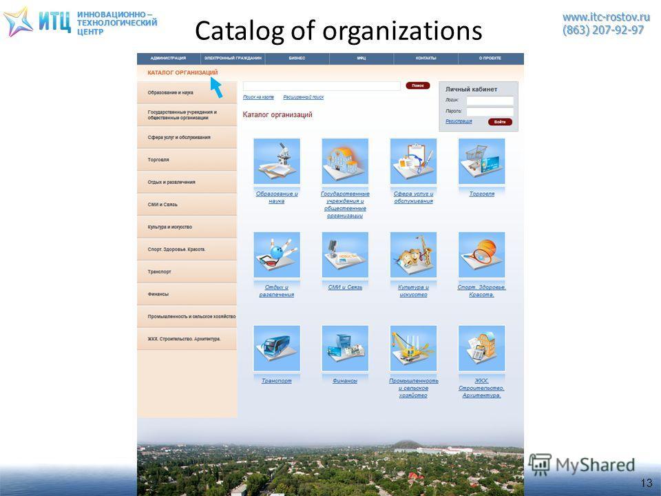 ИННОВАЦИОННО – ТЕХНОЛОГИЧЕСКИЙЦЕНТРwww.itc-rostov.ru (863) 207-92-97 Catalog of organizations 13