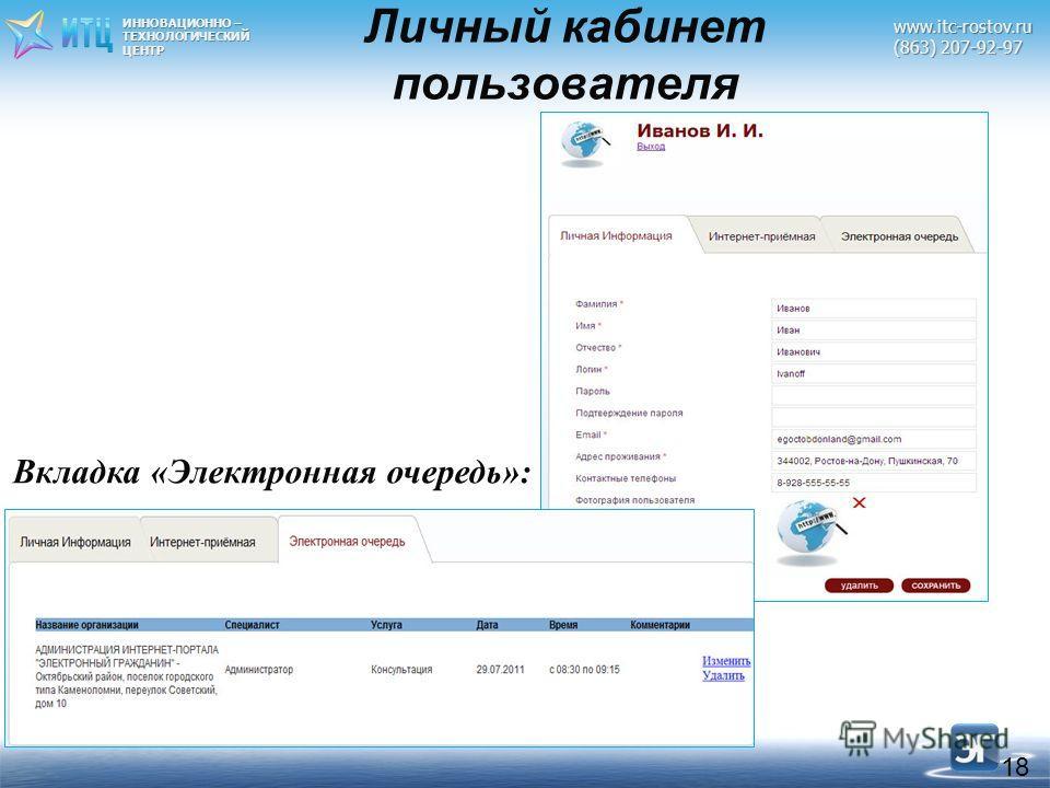 ИННОВАЦИОННО – ТЕХНОЛОГИЧЕСКИЙЦЕНТРwww.itc-rostov.ru (863) 207-92-97 18 Вкладка «Электронная очередь»: Личный кабинет пользователя