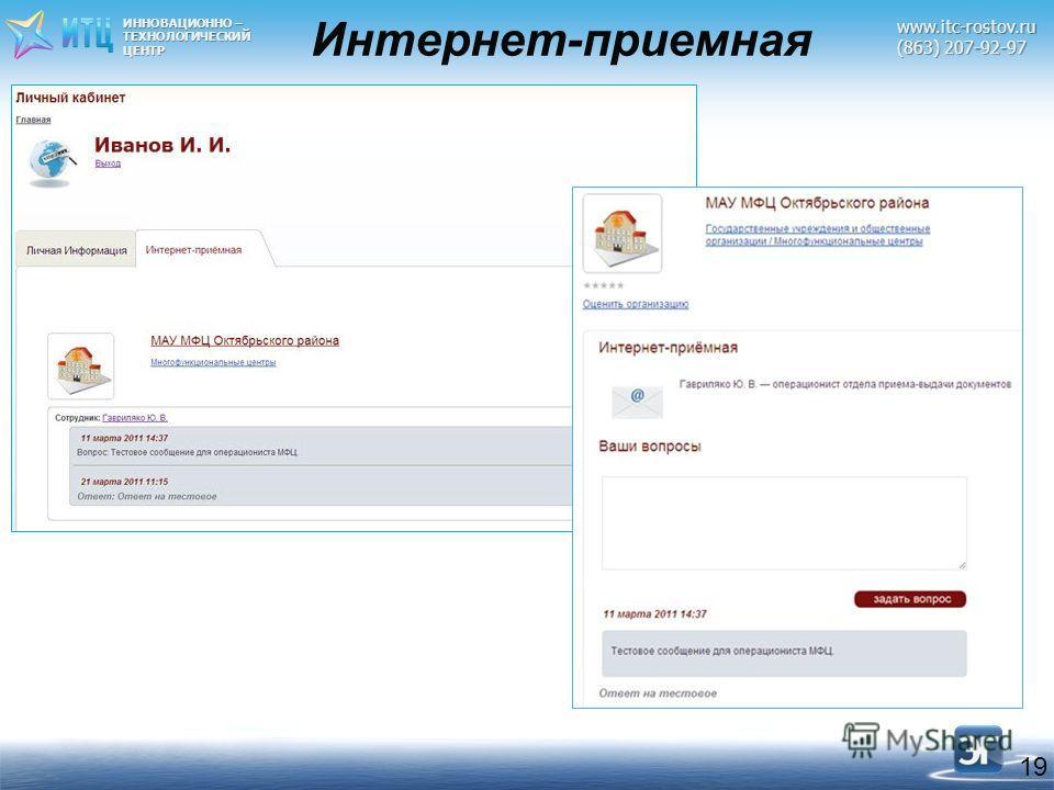 ИННОВАЦИОННО – ТЕХНОЛОГИЧЕСКИЙЦЕНТРwww.itc-rostov.ru (863) 207-92-97 19 Интернет-приемная