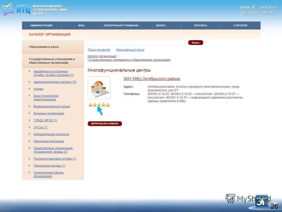 ИННОВАЦИОННО – ТЕХНОЛОГИЧЕСКИЙЦЕНТРwww.itc-rostov.ru (863) 207-92-97 26
