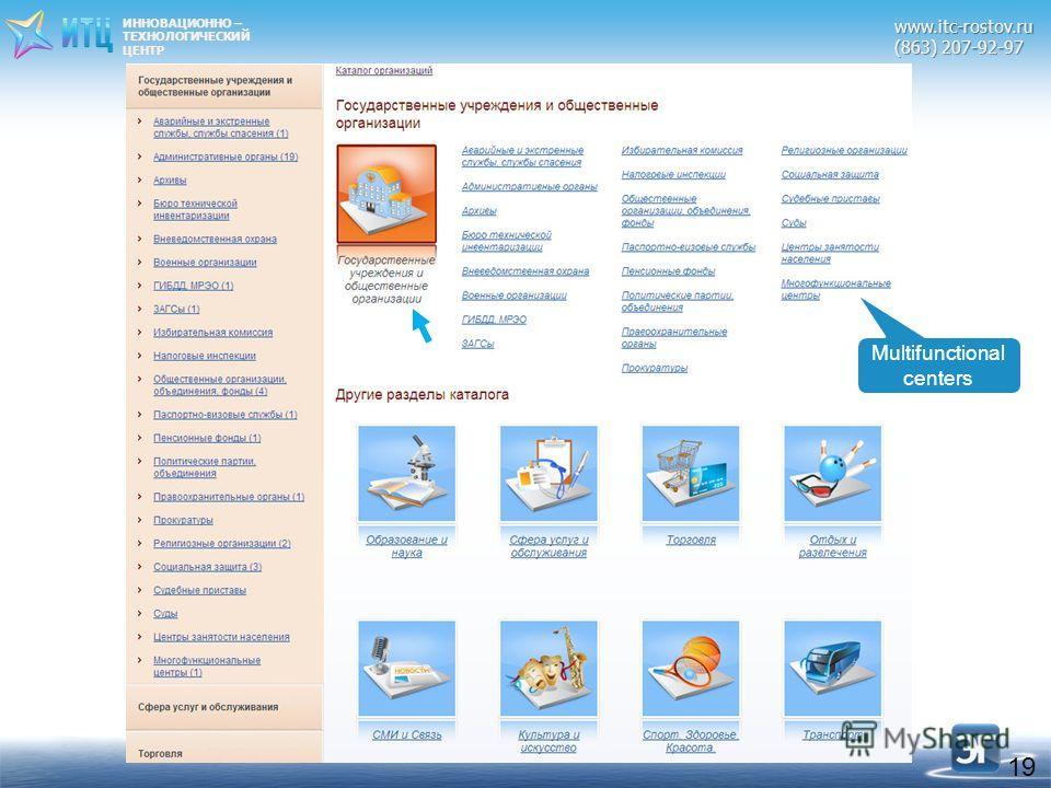 ИННОВАЦИОННО – ТЕХНОЛОГИЧЕСКИЙЦЕНТРwww.itc-rostov.ru (863) 207-92-97 19 Multifunctional centers