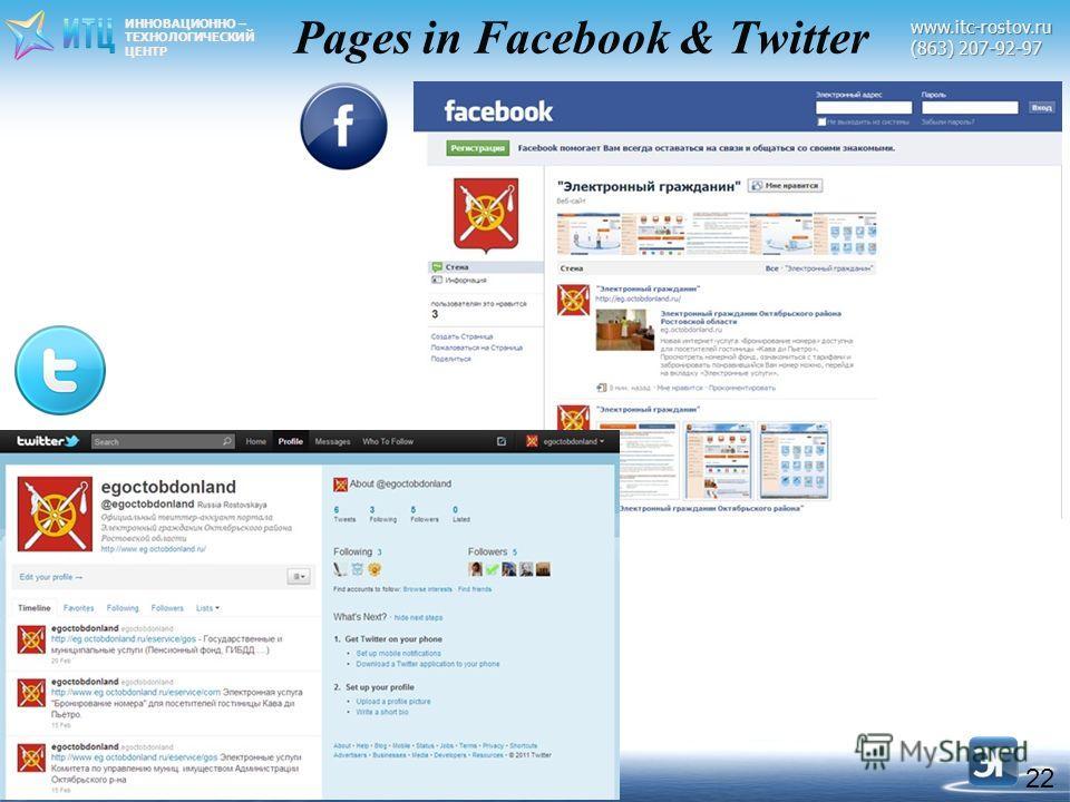 ИННОВАЦИОННО – ТЕХНОЛОГИЧЕСКИЙЦЕНТРwww.itc-rostov.ru (863) 207-92-97 Pages in Facebook & Twitter 22