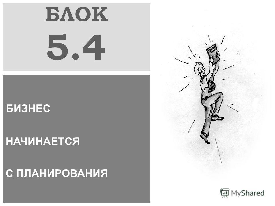 БЛОК 5.4 БИЗНЕС НАЧИНАЕТСЯ С ПЛАНИРОВАНИЯ