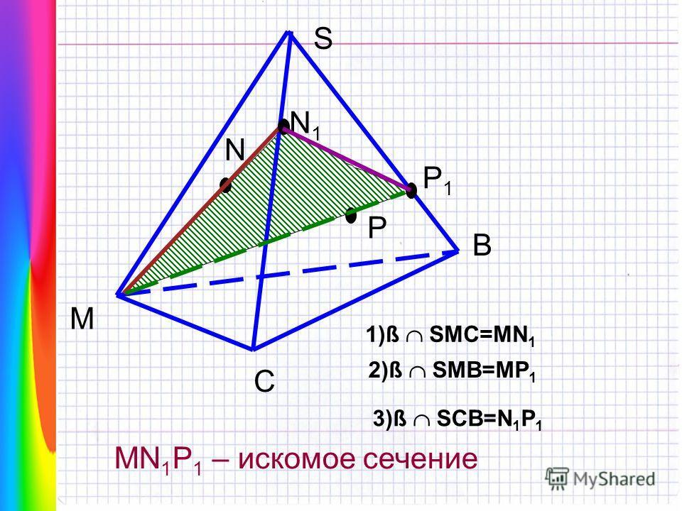 МЕТОД СЛЕДОВ ЗАДАЧА 2 Дан тетраэдр SMCB. Постройте сечение тетраэдра плоскостью, проходящей через точки M, N, P. Известно, что N SMC P MSB