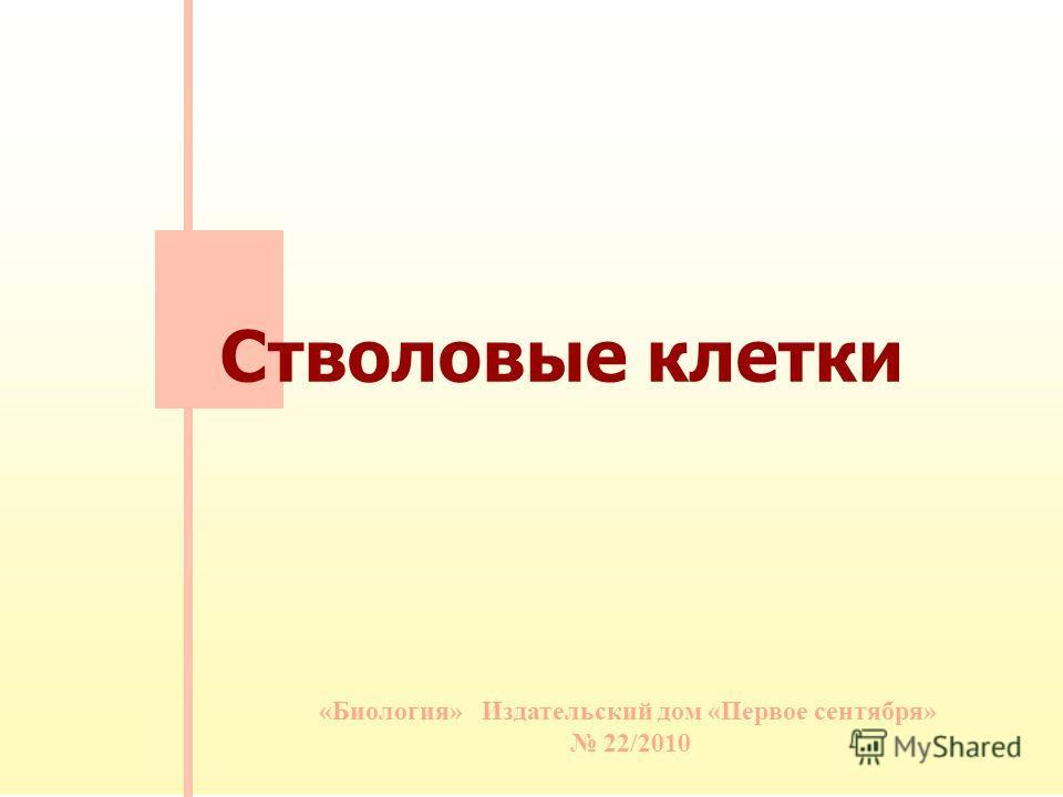 «Биология» Издательский дом «Первое сентября» 22/2010 Стволовые клетки